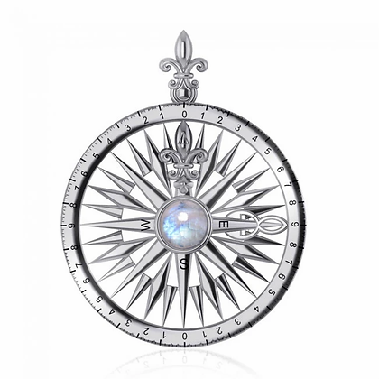 Compass and Moonstone Pendant