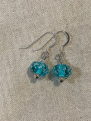 Teal Sand Bead Drop Earrings