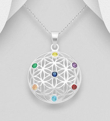 Chakra CZ Mandala Pendant
