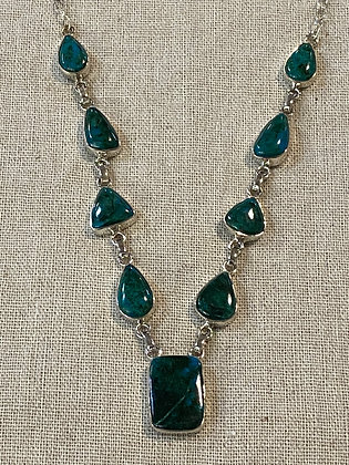 Chrysocolla Rectangle Drop Necklace