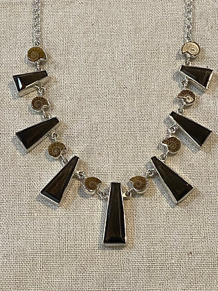 Smoky Quartz & Ammonite Necklace