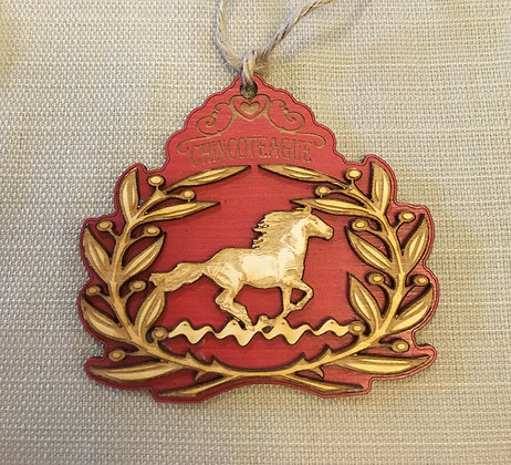 Wooden Horse Wreath Ornament