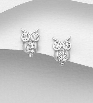 CZ Owl Studs