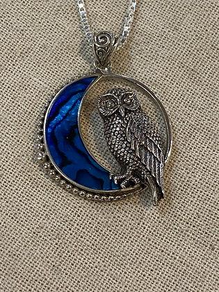Owl & Abalone Crescent Moon Pendant