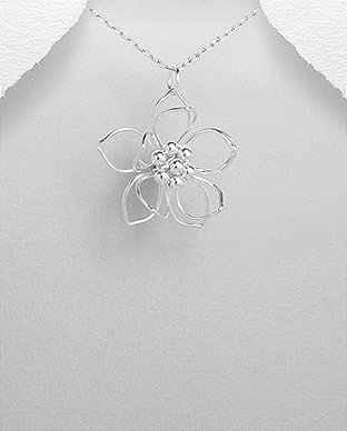 Silver 3D Flower Pendant