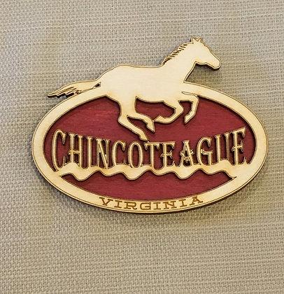 Wooden Chincoteague Running Horse Magnet