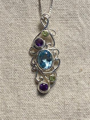 Blue Topaz & Gemstone Pendant