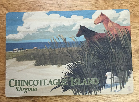Ponies on the beach wooden post card