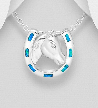 Blue Fire Opal Horseshoe Pendant