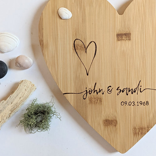Personalised Anniversary Wedding Bamboo Wood Board