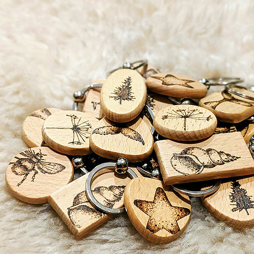 Handburnt Wooden Keyrings