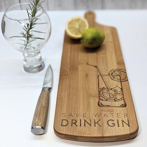 Drink Gin Bamboo Wood Board