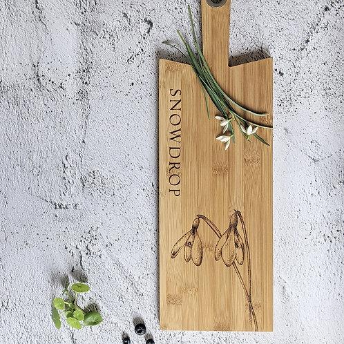 Snowdrop Flower Bamboo Wood Board