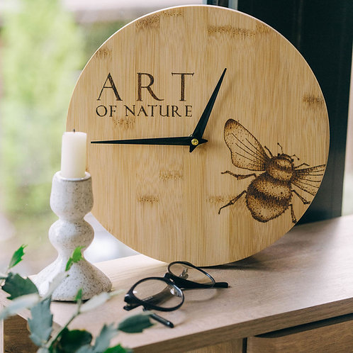 Bumble Bee Bamboo Wood Wall Clock