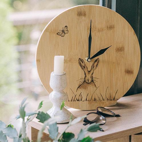 Hare Bamboo Wood Wall Clock