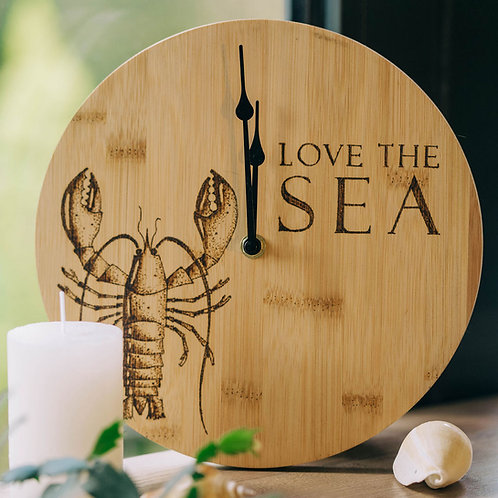 Lobster Bamboo Wood Wall Clock