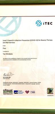 英国国際ライセンスITEC感染症対策取得