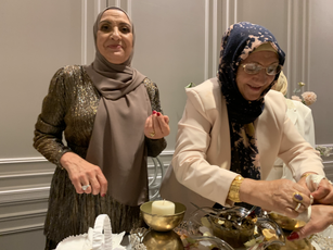 Gulsoom's Mum and Aunty getting ready for the Henna Blessing