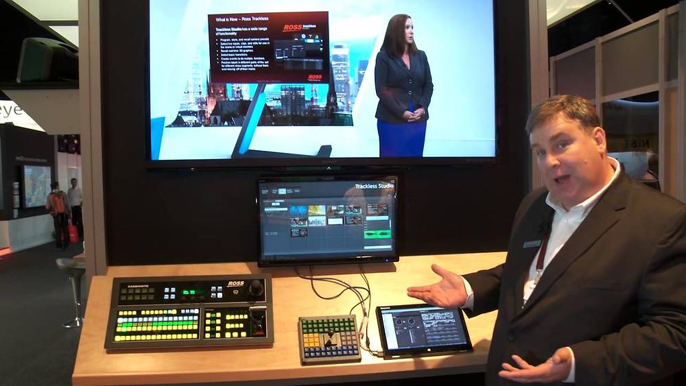 Trackless Studio在展覽會上演示整合Ross CBS導播機+觸控螢幕控制+平板控制!