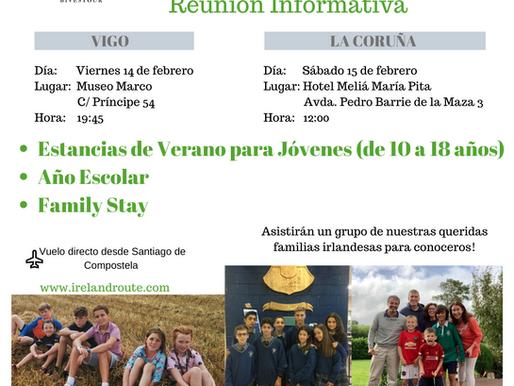Reunión Informativa en Vigo el 14 de febrero y en La Coruña el 15 de febrero.