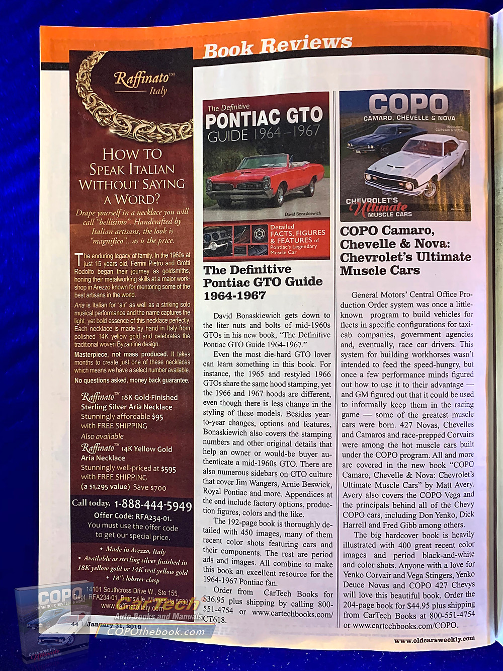 The January 31st edition of Old Cars Weekly reviews COPO the book.