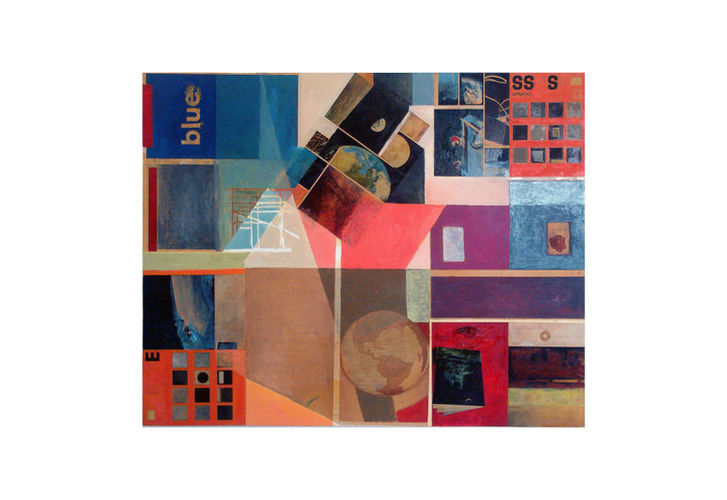 blues,  2008, oil and collage on canvas, 140 X 180 cm