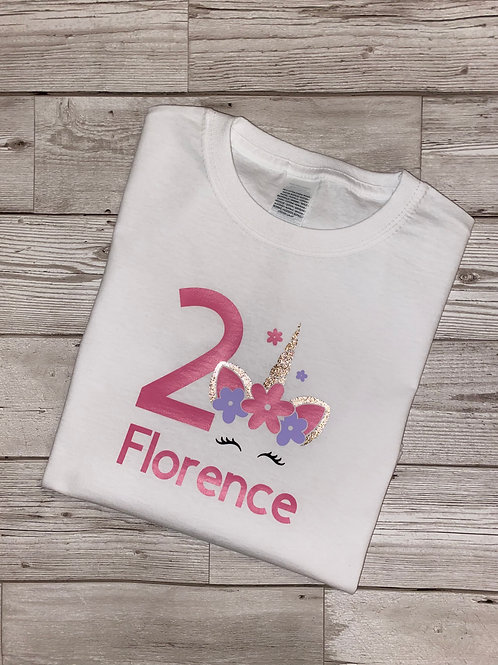 Girls unicorn T-shirt, personalised any name any number/Birthday t-shirt/Girls d