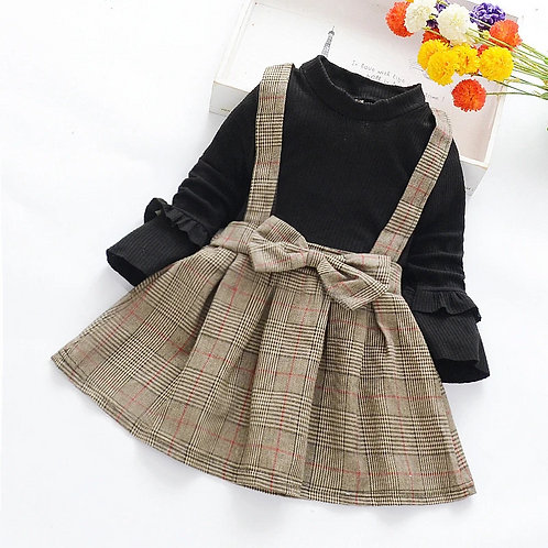 Girls dress outfit. Black taupe patterned/outfit/smart boutique clothing