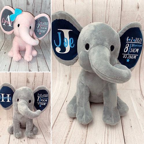Elephant keepsake/Birth stats/Personalised newborn gift/Plush elephant teddy