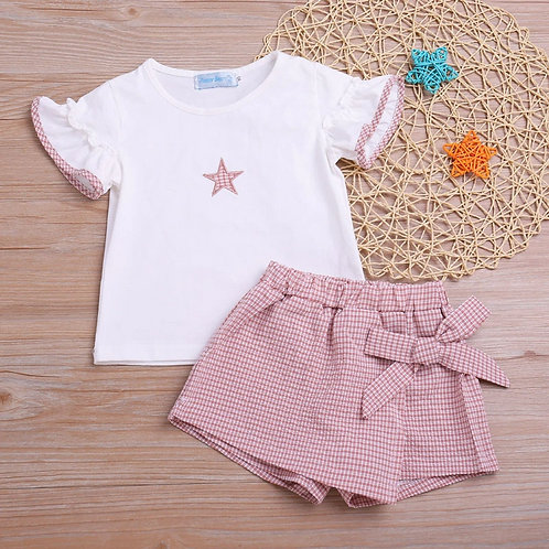 2 piece top and shorts outfit/birthday dress up/ smart girls outfit