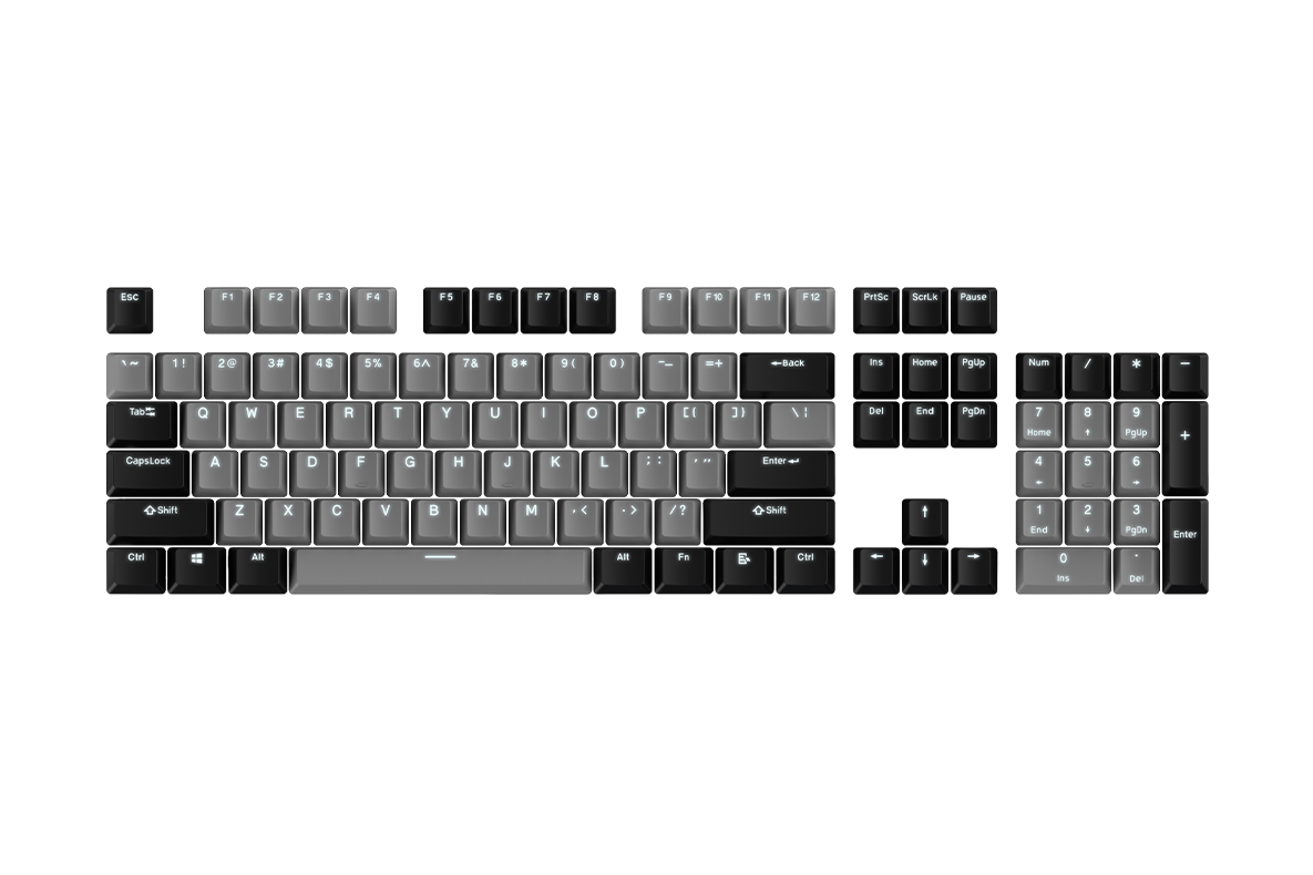 keycap 104 - pbt_black-grey