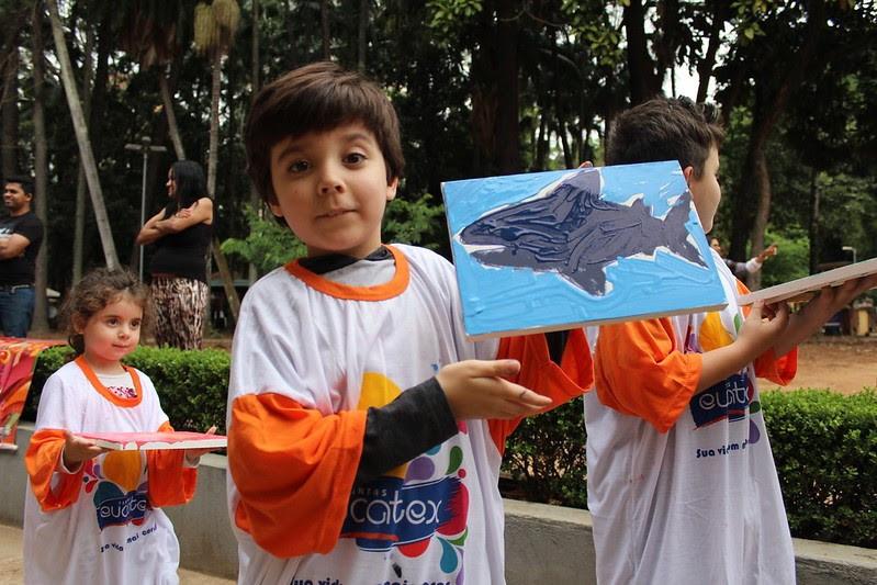 Aquário do IP incentiva a criatividade das crianças com desenhos de peixes para pintar - Imagem: Divulgação