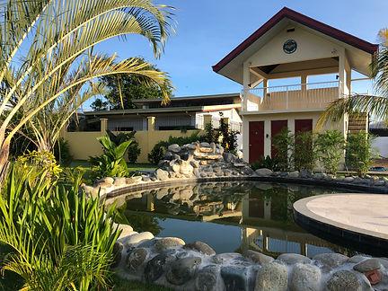 Koi pond and view deck