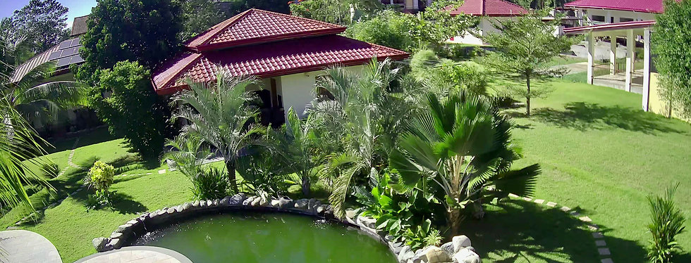 West Side of Strutz Art Garden Resort with koi pond, garden and guest rooms. Wide spaces are available for relaxation or events like weddings.