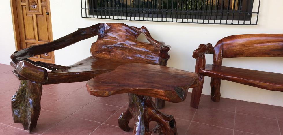 Narra driftwood furniture on patio