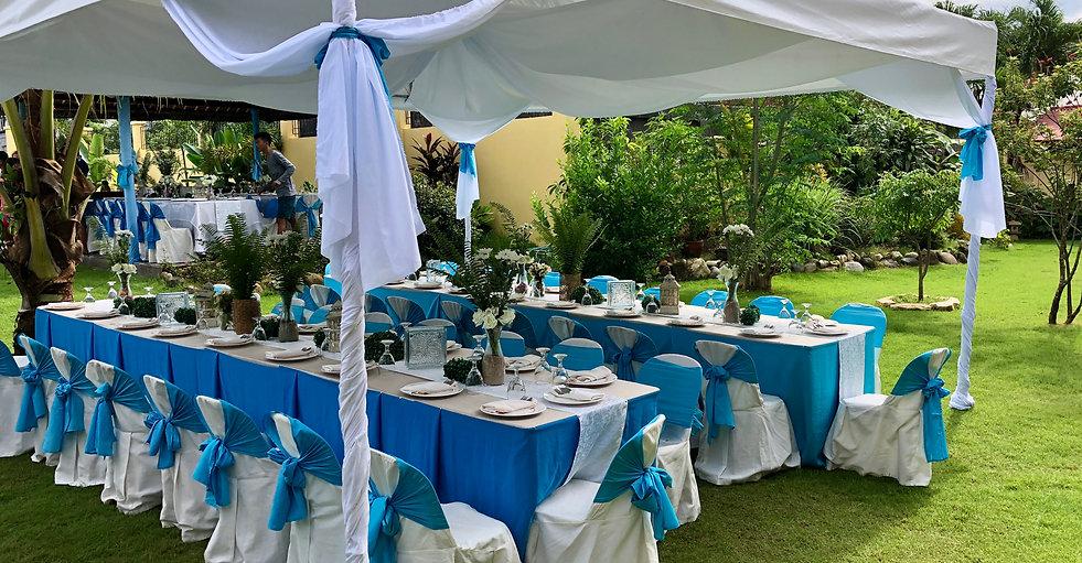 Decorated wedding tent in Strutz Art Garden Resort