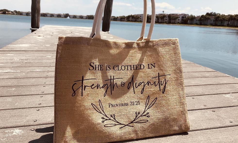 Proverbs 31:25 - Tote Bag