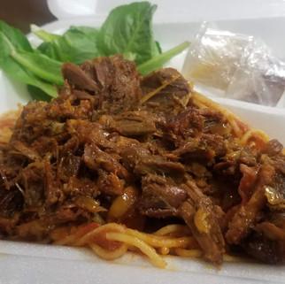 Goat Hilib Ari Spaghetti