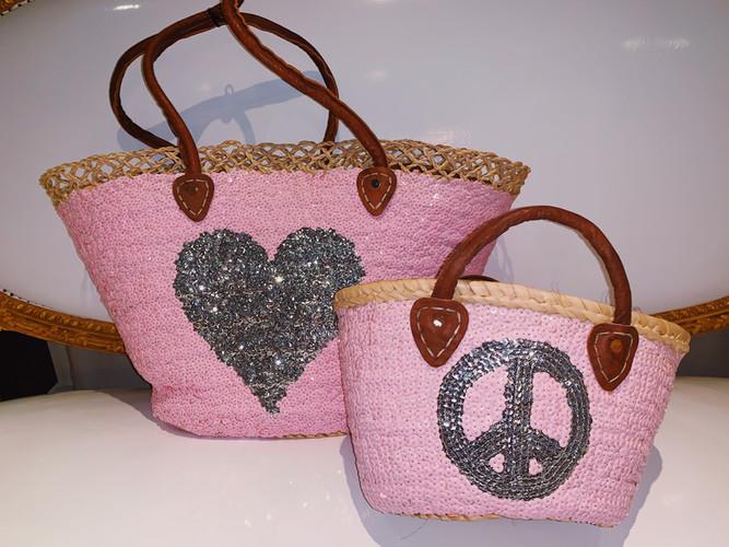 Pink Sequenced Beach Bag Big & Mini
