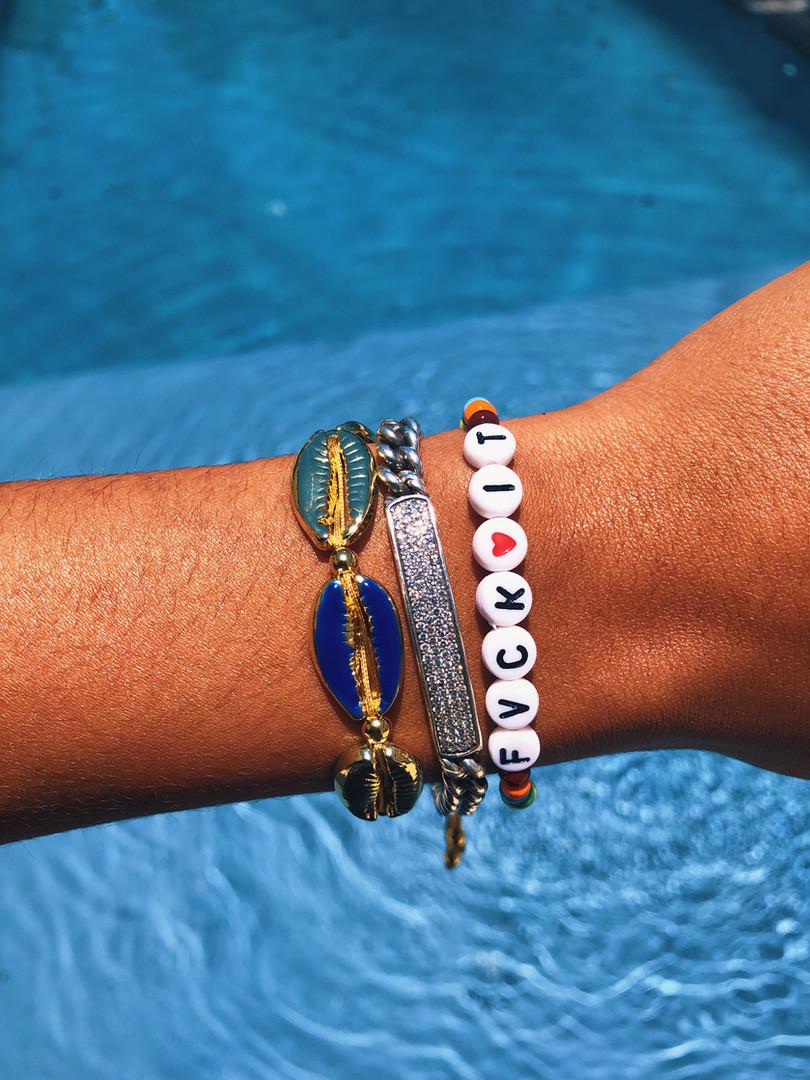 Blue/Gold Cowrie Bracelete