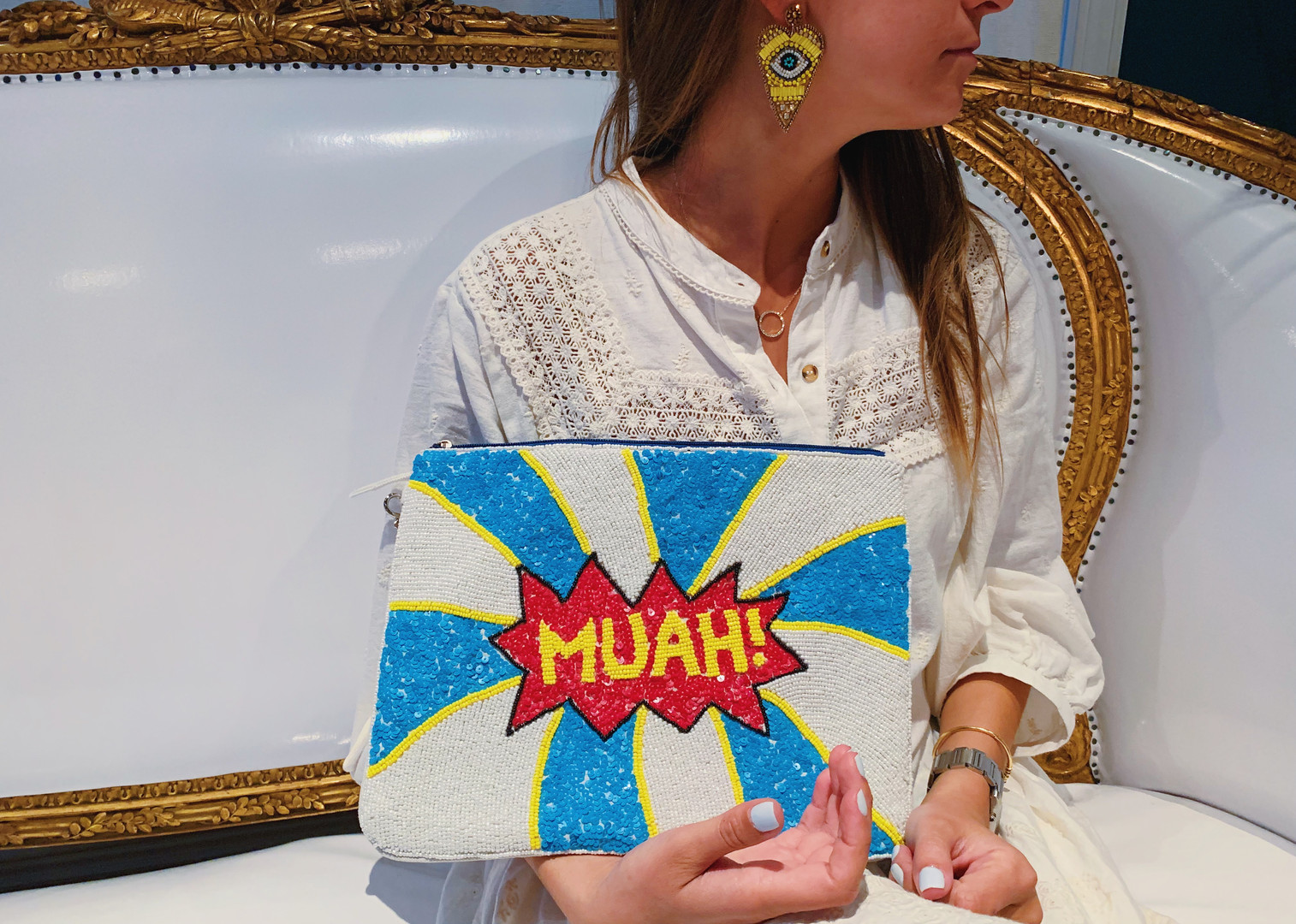 "Yellow Eye Beaded Earrings & ""Muah"" Beaded Clutch"