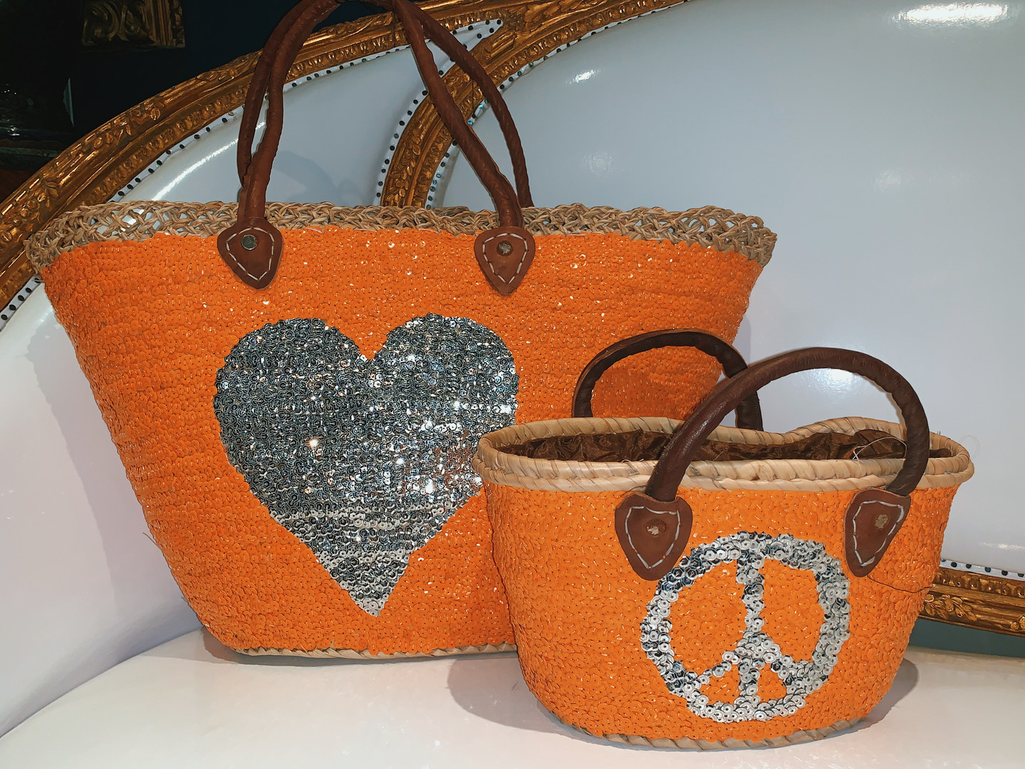 Orange Sequenced Beach Bag Big & Mini