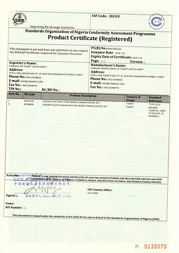 Products  certificate (registered)