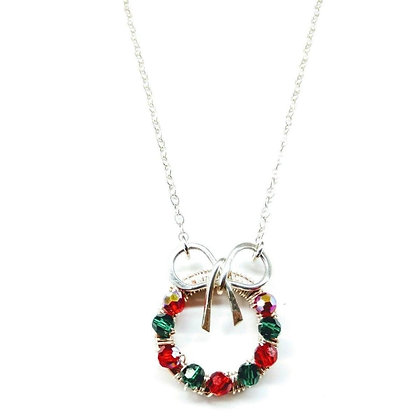 Limited Edition Christmas Ribbon Crystal Wreath Necklace 2019