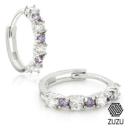 Silver CZ & Amethyst Colour Cartilage Huggie Earring