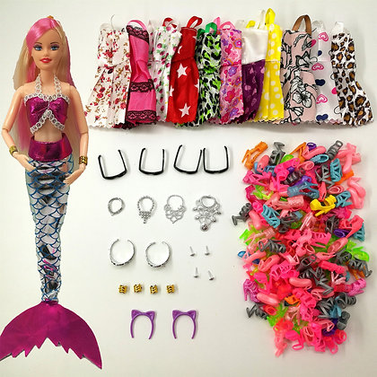 33 Item/Set Doll Accessories = 8Pcs Shoes + 4 Necklace 4 Glasses 1 Mermaid Tail