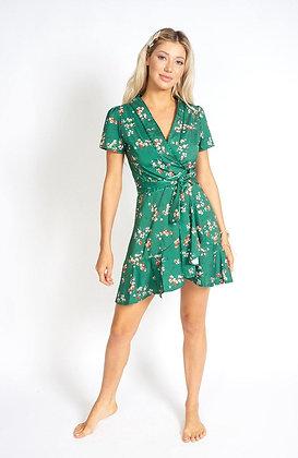 Sakura Emerald Side-Tie Mini Dress