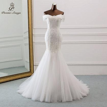Style Boat Neck Beautiful Sequined Wedding Dress for Wedding Mermaid Dress