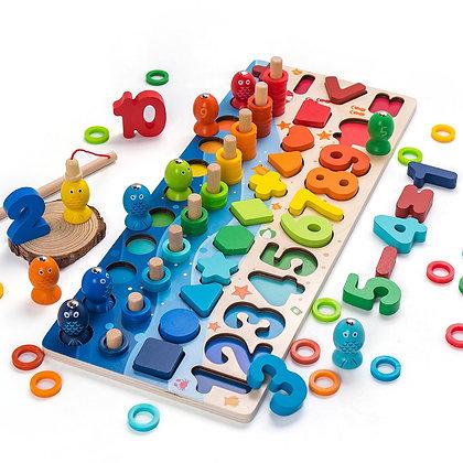 Kids Toys Montessori Educational Wooden Toys Geometric Shape Cognition Puzzle