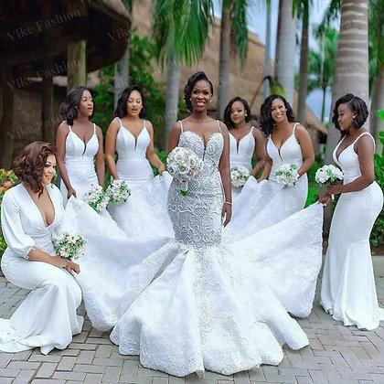 Mermaid Lace Wedding Dresses Beaded Luxury Country Garden Bridal Reception Dress